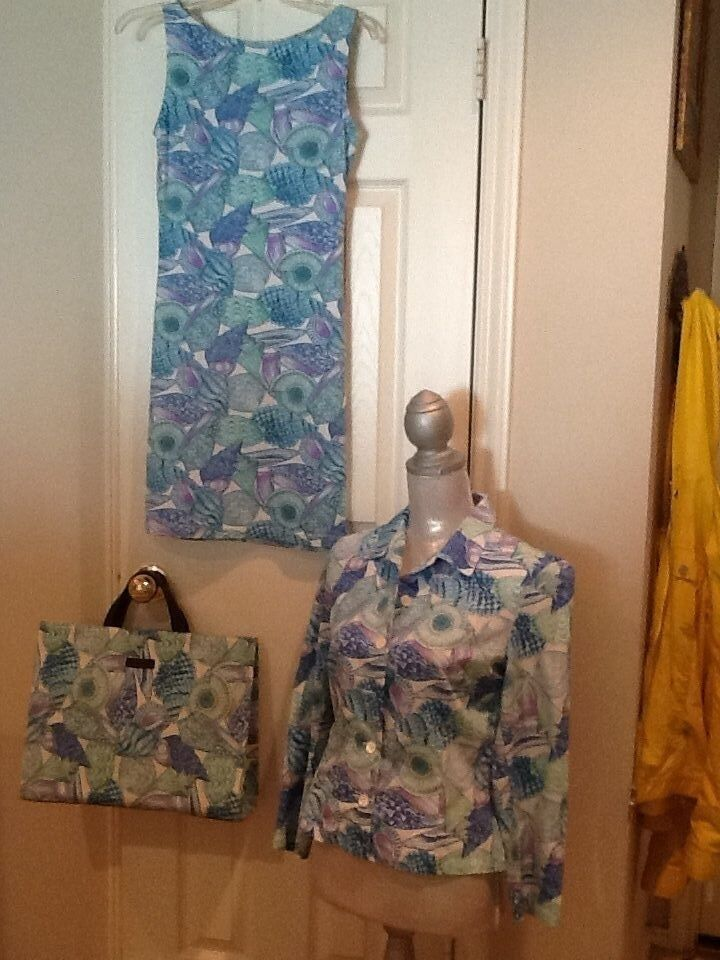 7ddc1f228f580b LOT of MANUEL CANOVAS DRESS COVER UP shirt tote bag sea beach 3 shell  nnwccq5165-Swimwear
