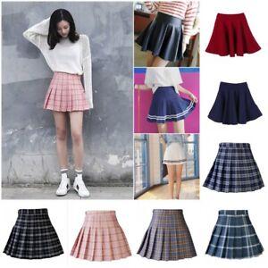 40c293915 High Waist Short Skirt Skater Mini Skirt School Girls Flared Pleated ...