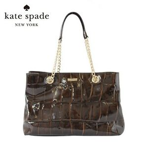 29b11fe51a2c Image is loading Auth-Kate-Spade-Knightbridge-Helena-Croc-Patent-Leather-