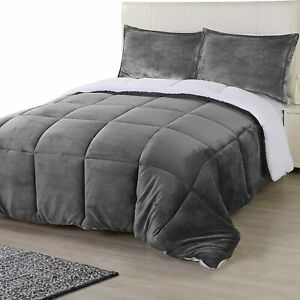All Season Reversible Fleece Sherpa Comforter Set  Utopia Bedding