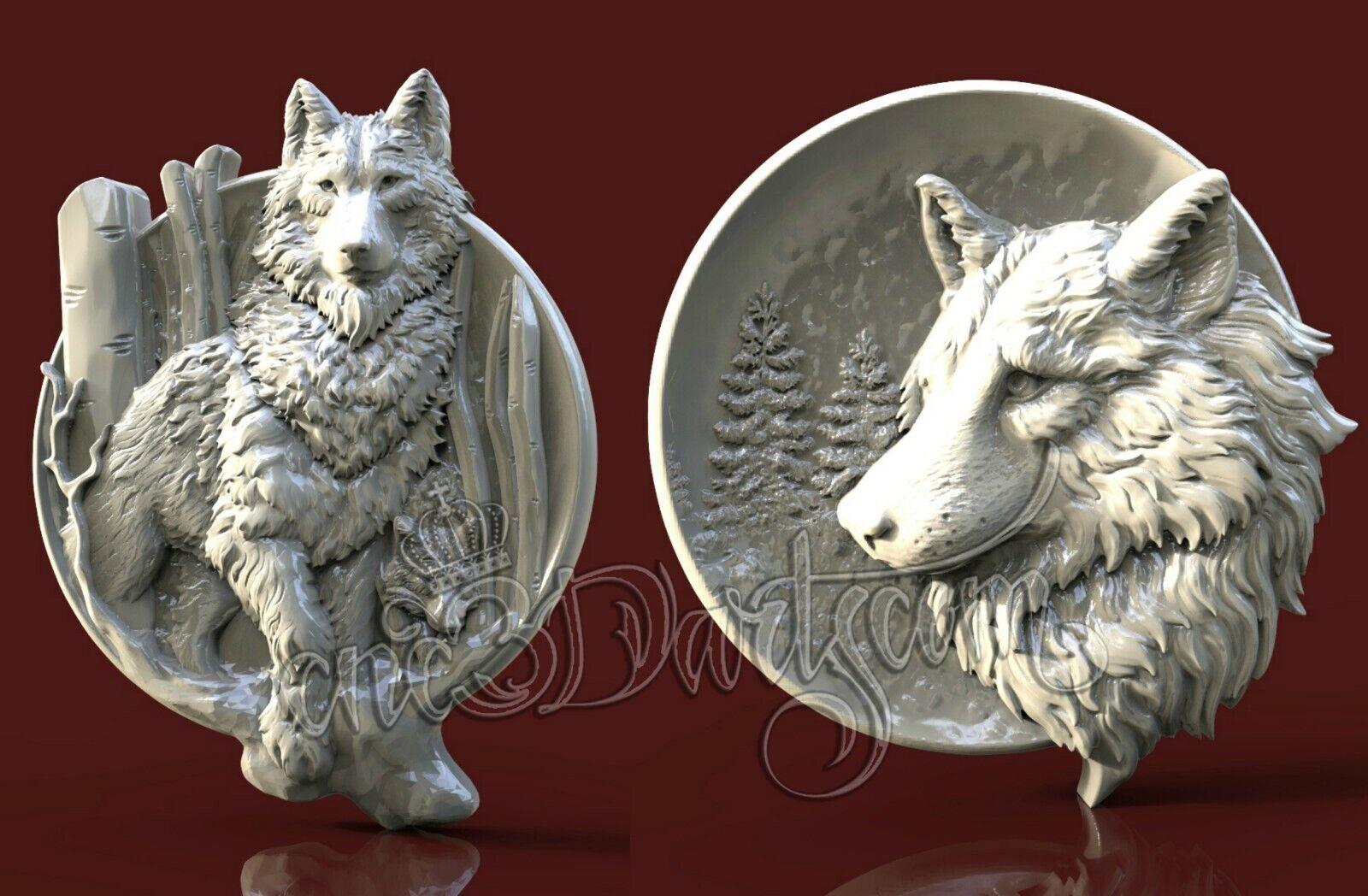 3D modelo STL Para Cnc Router tipo Aspire Animal Wolf Moon Panel Cut3D vcarve