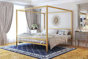 Twin-Full-Queen-king-Size-Canopy-Bed-Frame-Headboard-Metal-Steel-Gold-Modern