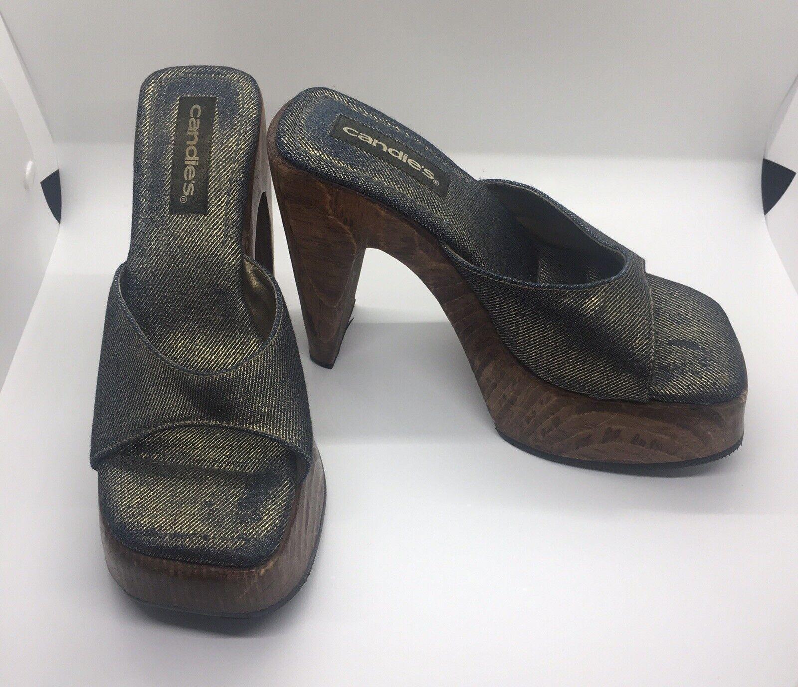 CANDIE'S Vintage 1990's Denim Platform Block Heel… - image 6
