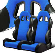 Black Blue Fabricpvc Leather Leftright Recaro Style Racing Bucket Seats