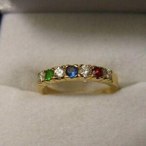 Bijoux Femme Bague T54 Alliance Diamant Emeraude Cz Plaqué Laminé Or 18K