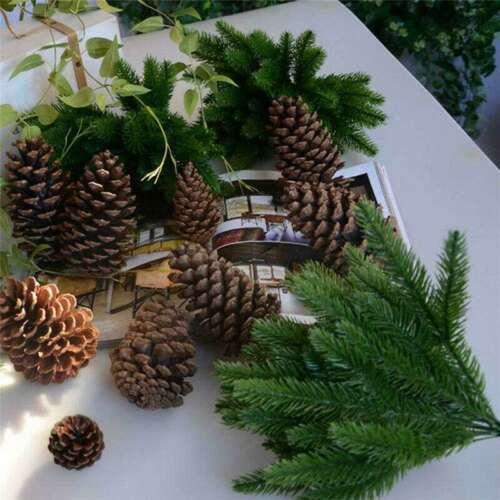 Christmas Xmas Tree Fake Plants 10Pcs Pine Branches Artificial Flower Home Decor