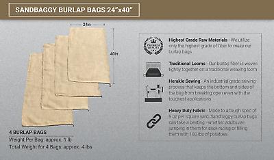 4 24x40 Burlap Bag,potato Sack,sack Racing,race,bags,sandbags,coffee Bean Sand