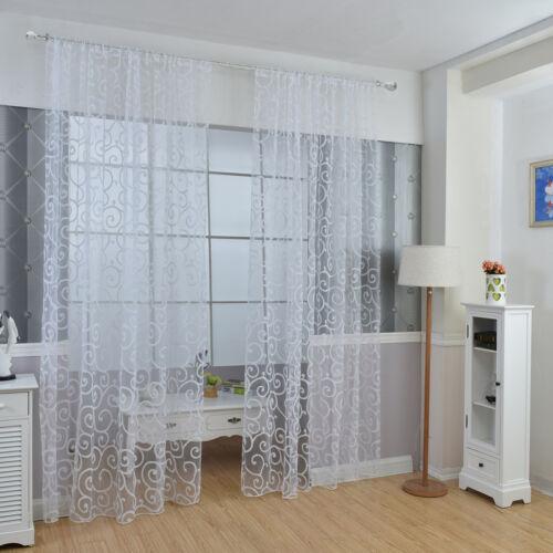 Luxury Transparent Curtain Home Scarf DIY Decor Bedroom Scarf Voile Hook Curtain