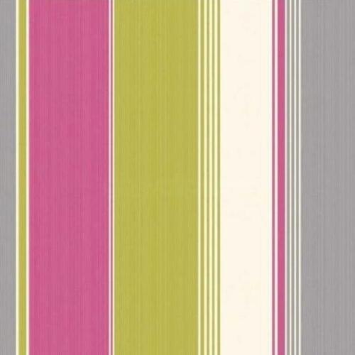 Rétro Rayures Fines Contemporain Couleur vive papier peint rose vert citron gris