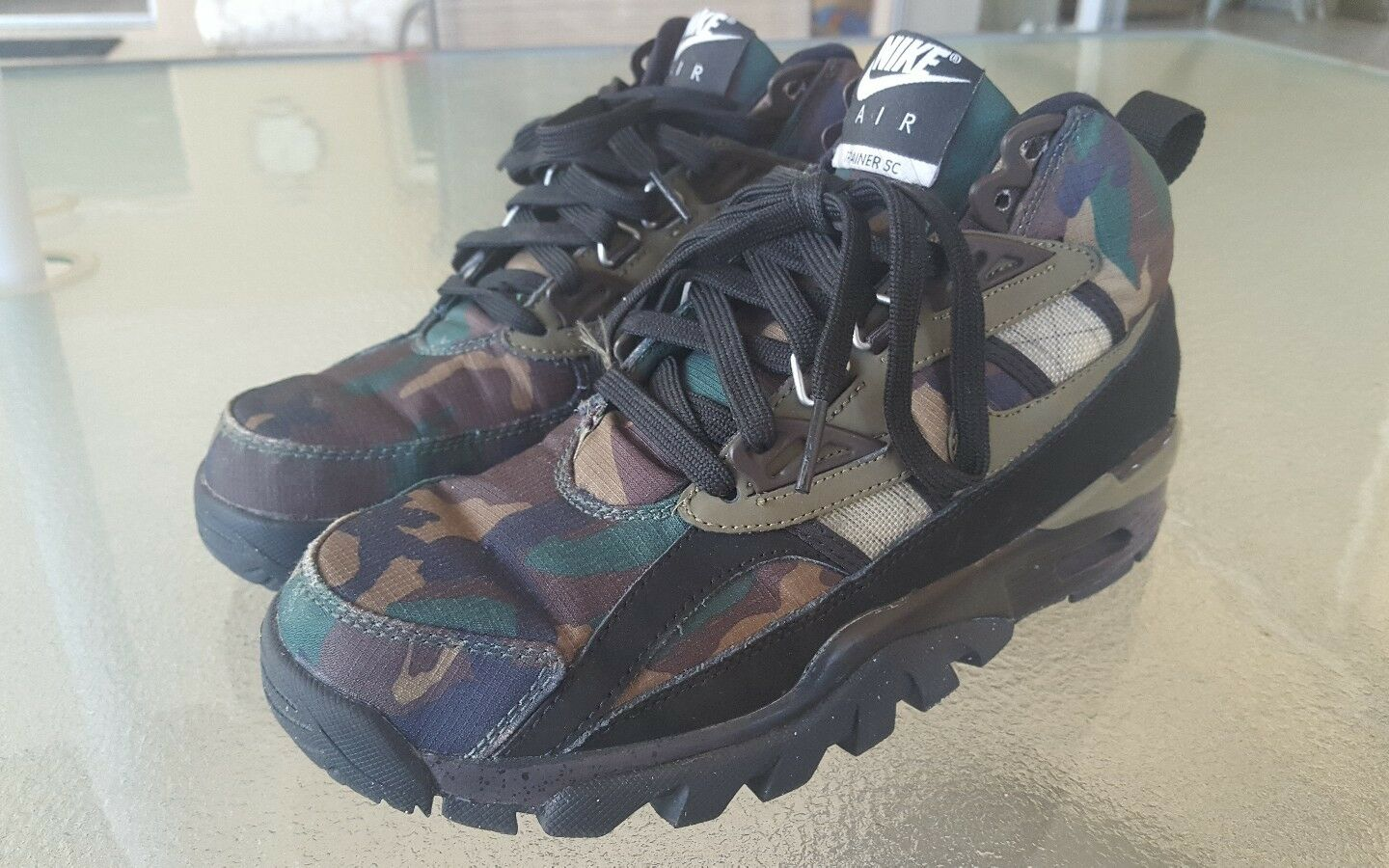 Nike Air Trainer SC Sneakerboot Camoflage Camo Noir Olive Tan Camoflage Sneakerboot Rare - Hommes Sz 6 8998e6
