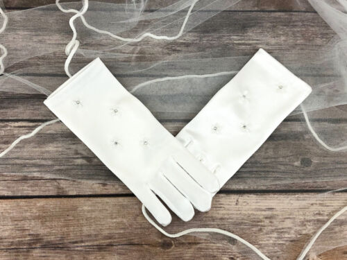 Girls First Holy Communion White Satin Gloves Wrist Length Kids Flower Glove