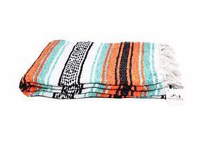 Mint-and-Orange-Mexican-Blanket-Serape-Throw-Mexican-Yoga-Boho-Falsa-Blanket-XL