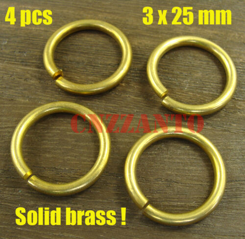 4pcs 3 x 25mm Solid brass jump rings Connectors for Craft Fob wallet key chain