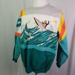 Vintage-1990-039-s-ADIDAS-DEVILS-TOENAIL-AMUZA-RIVER-CREWNECK-sz-XL-RARE-KAYAK-RAPID