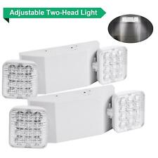 Pair Double Heads 2 Led Office Market Exit Sign Emergency Lighting Lamp Ul