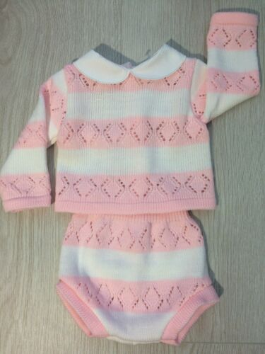 Baby  Girls Pink Knitted Pink /& white striped romper /& top set Lace 0-9 Months