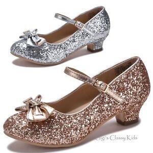 Girls Rose Gold Silver Glitter Dress Shoes Heels Pumps ...