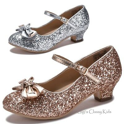 Girls Rose Gold Silver Glitter Dress