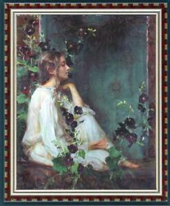 Hand painted Oil painting original Art Impressionism Portrait girl on canvas