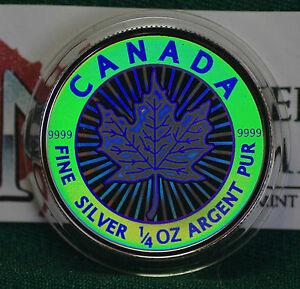 2003-CANADA-3-Hologram-Silver-Maple-Leaf-1-4-oz-Reverse-proof-99-99-silver