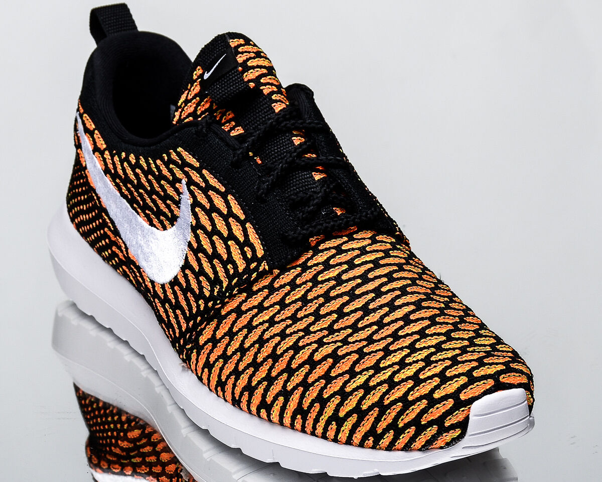 Nike Roshe NM Flyknit men lifestyle casual sneakers NEW black orange 677243-018