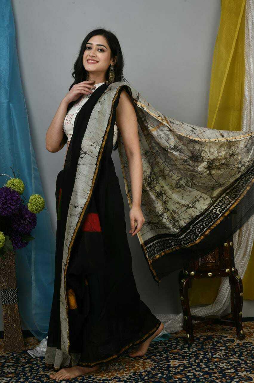 Designer Handmade Beautiful Printed Chanderi Silk Sari For Women Saree & Blouse