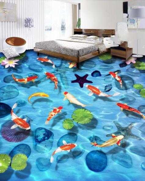 3D stella pesce stagno Pavimento Foto Wallpaper Murales Muro Stampa Decalcomania