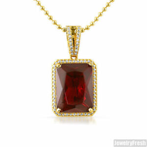 Large lab made ruby royal gold pendant chain set rick ross ebay image is loading large lab made ruby royal gold pendant chain aloadofball Gallery