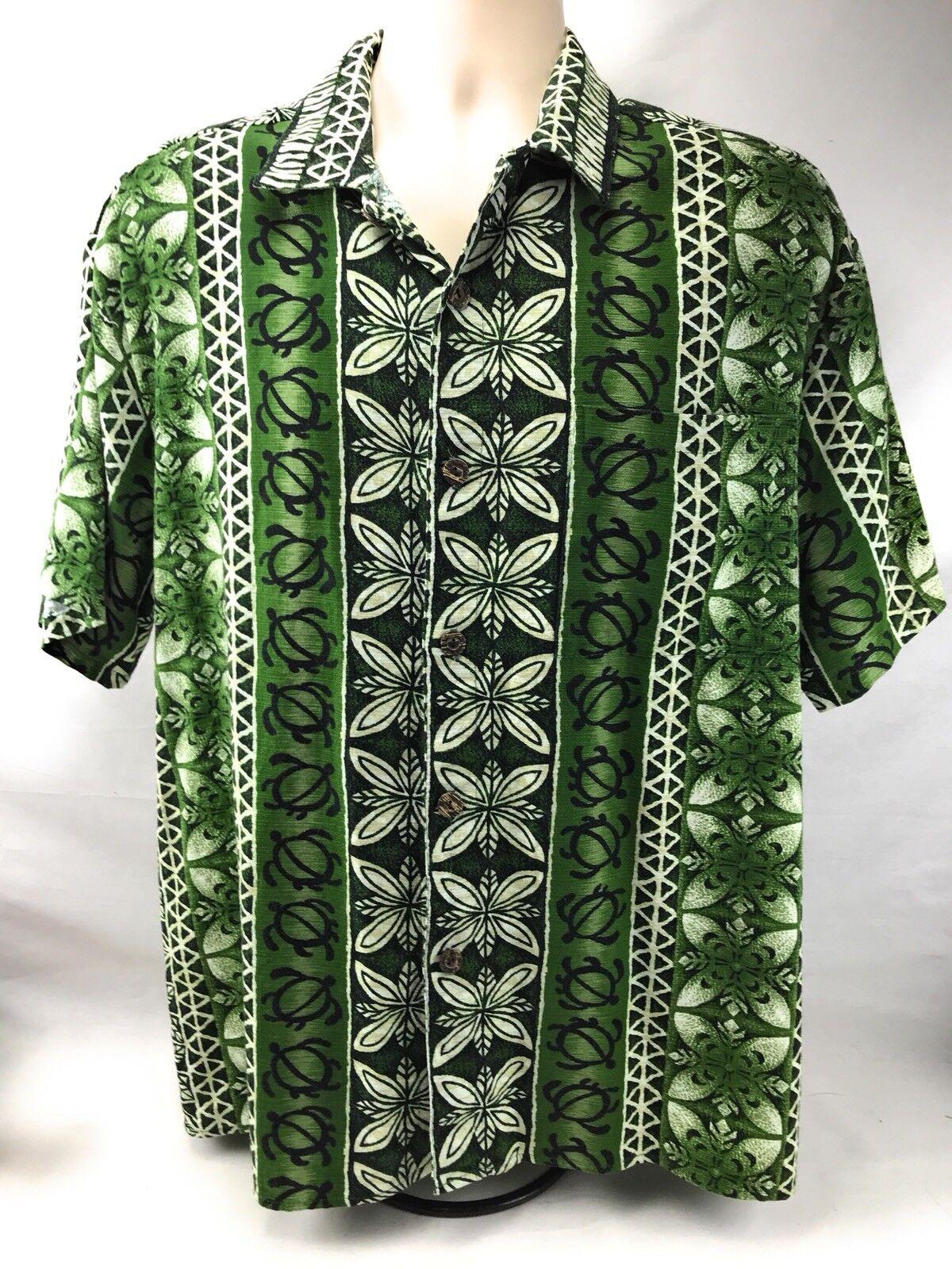 60's Hawaiian Shirt verde L Barkcloth Aloha Fridays Turtles verde Shirt 2b5ca2