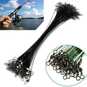 20pcs-Fishing-Traces-Wire-Leader-Anti-bite-Stainless-Steel-Lures-Hook-Swivel-New