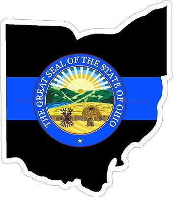 Thin Blue Line Ohio w/ State Seal Reflective Decal Sticker Police Sheriff Deputy