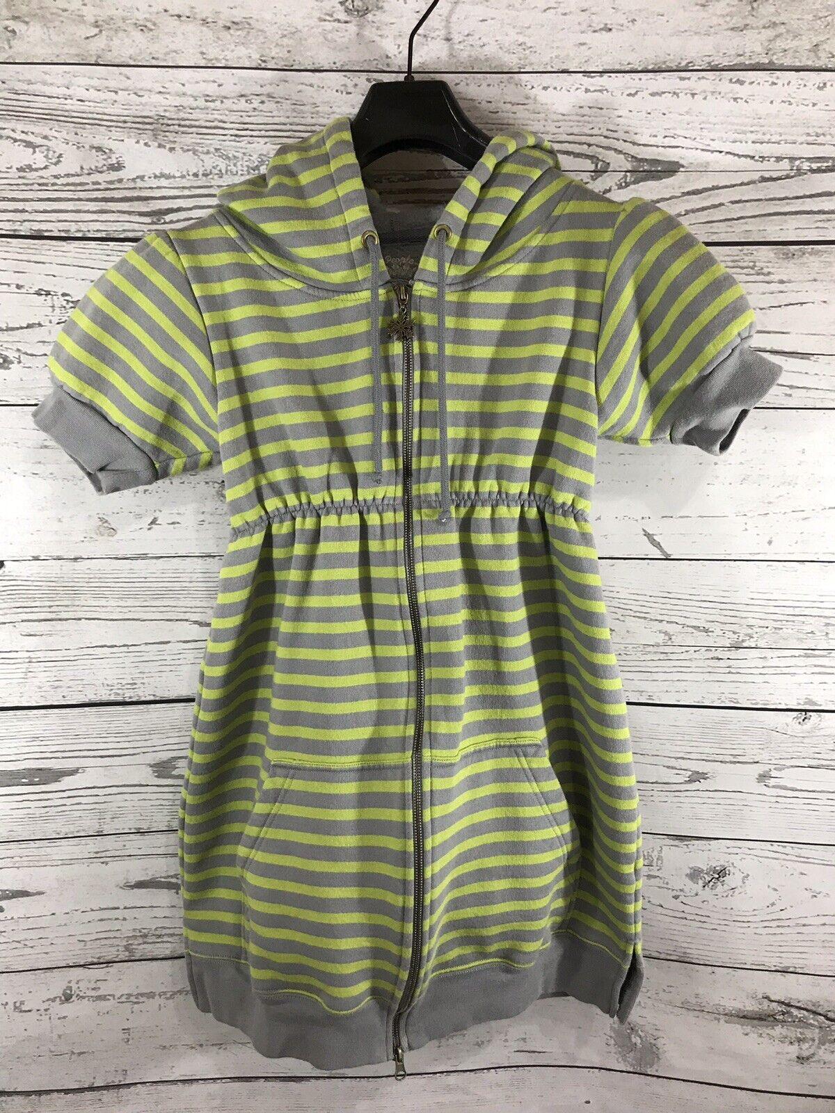 Free People damen Neon Grün Striped Full Zip Hooded Short Sleeve Jacket Medium