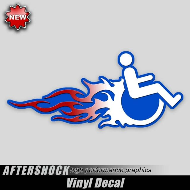 Handicapped Hot Rod Wheelchair decal flaming van sticker