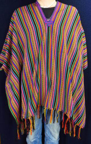 Tradizionali Poncho ponchos CARNEVALE colorato su lancio CARNEVALE Inka Maya Unisex
