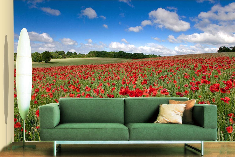 3D Unzählige rede bluemen 377 Fototapeten Wandbild Fototapete BildTapete Familie