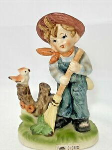 Royal-Crown-Farm-Chores-Figurine-Boy-with-Bird-Porcelain-4-75-034-H-x-3-25-034-L-Japan