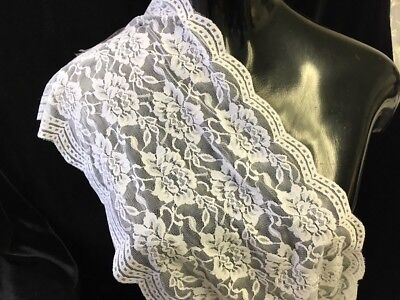 """1 //10// 50 Yards white stretch double scalloped  lace trim 6/"""" S6-4 SHIP FROM USA"""