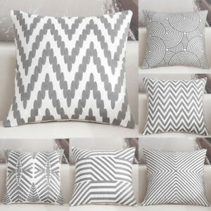 Details About Fashion Gray Wave Geometric Pattern Cushion Cover Home Sofa Pillow Case Fn255