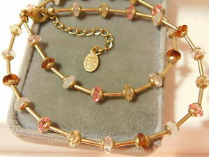 Signed-CH-Gold-tone-Floating-Faceted-Pink-Crystal-bead-18-034-Necklace-extndr-7k-63