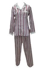 M28544 Miss Elaine Black White Stripe Brushed Back Satin Pajamas Set