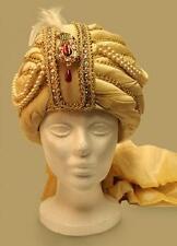 ALADDIN Genie Arabian Nights SULTAN SHIEK SINBAD Mens Gold TURBAN HAT HEADWEAR
