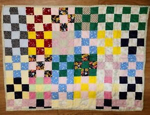 Handmade-quilted-Multi-Colored-Floral-Throw-Blanket-34-034-x45-034