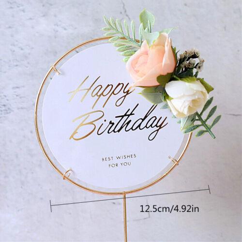 Iron//Acrylic Flower Happy Birthday Cake Topper Cupcake Dessert Decor Supplies