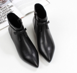 Womens Leather Bow Knot Pointed Toe Zip Ankle Knight Boots Flats Zip Toe Side Shoes B50 e13b7b