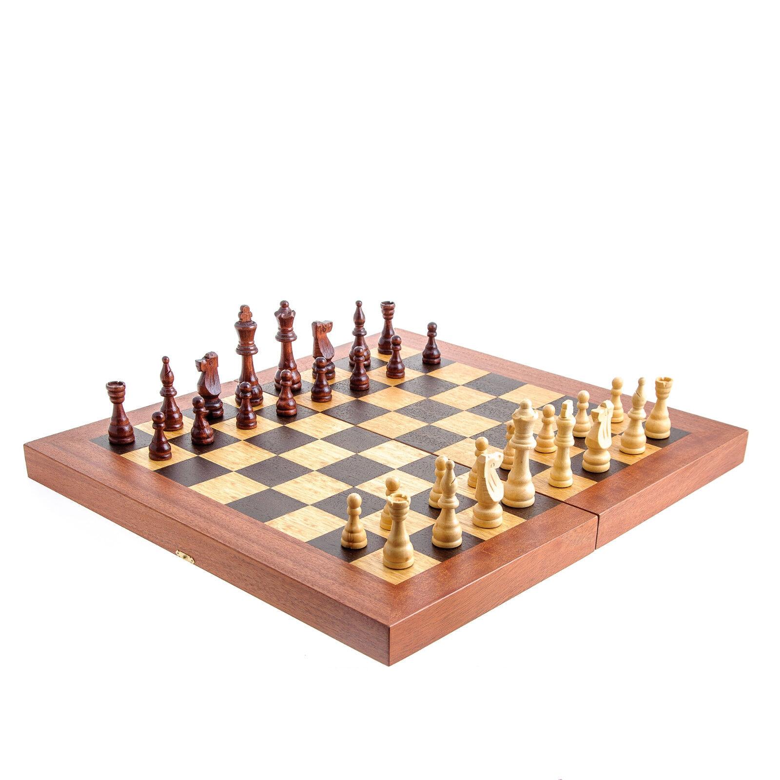 Backgammon, Ajedrez & Damas Juego Set-Hecho a Mano Madera de Caoba-Tamaño Grande
