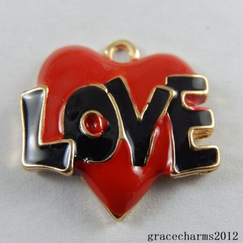 12x Colorful Enamel Metal Alloy Love Heart Pendants Charms Jewelry Craft 51000