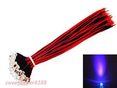 50pcs  Red LED Lamp Light  25cm Pre Wired 5mm 12V DC