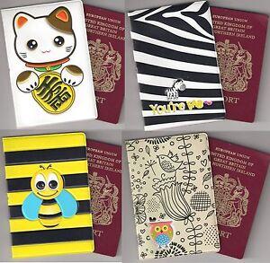 Passport-Holder-travel-gift-Japanese-Cat-Maneki-neko-Cute-Bird-Cat-Zebra-Bee