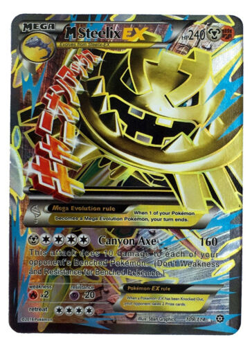 Steelix 109//114 Gold Mega EX Card Pokemon Collection Plastic Card Free 2 EX
