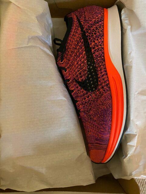 Nike Flyknit Racer Black Hyper Orange Purple 526628-008 Size 9, Wmns 10.5